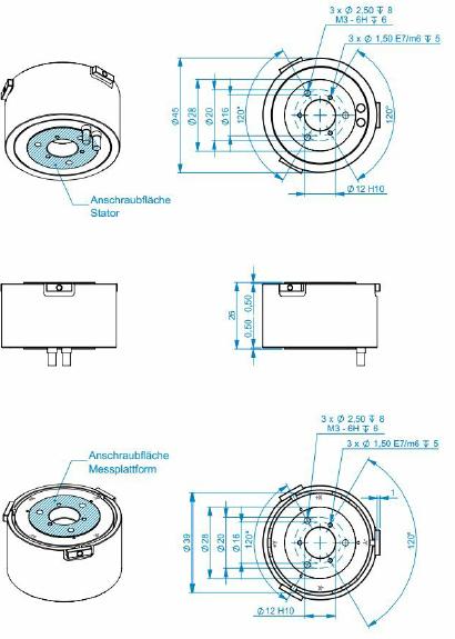 F6D45 - 6 axis force/torque transducer - 20N / 1Nm - robotics