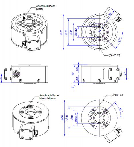 F6D100-50 / F6D100-50e - 6 axis force/torque transducer - 400 N / 20 Nm to 1200N / 60Nm - robotics