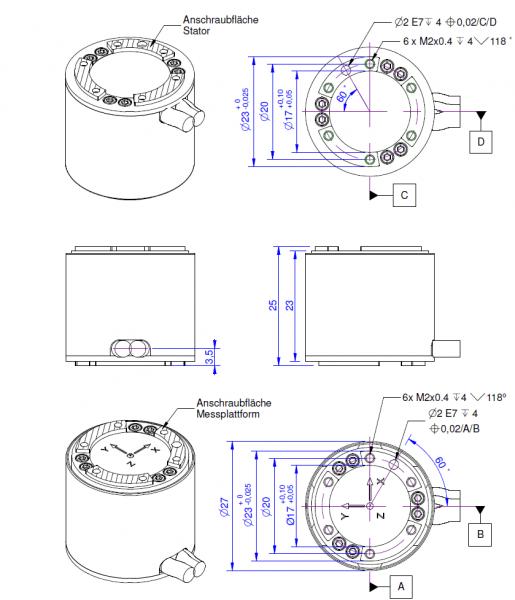 capteurs de force 6 axes