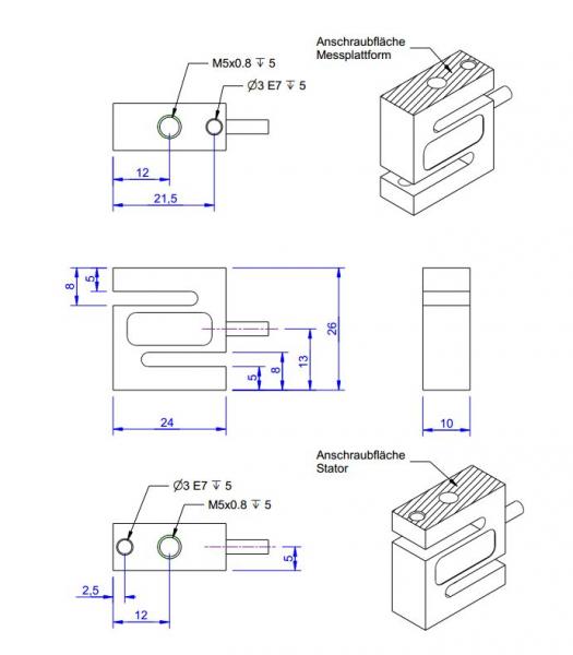 KD24s- IP65 - 2 N à 1 kN - Capteur de force en S de 2 N à 1 kN