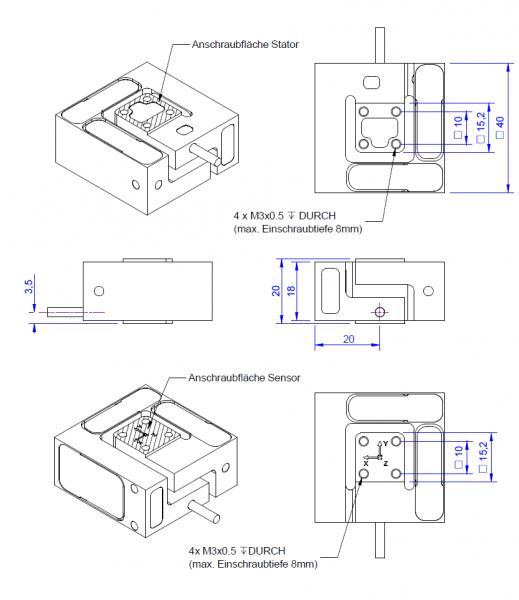 Capteur de force 3 axes K3D40