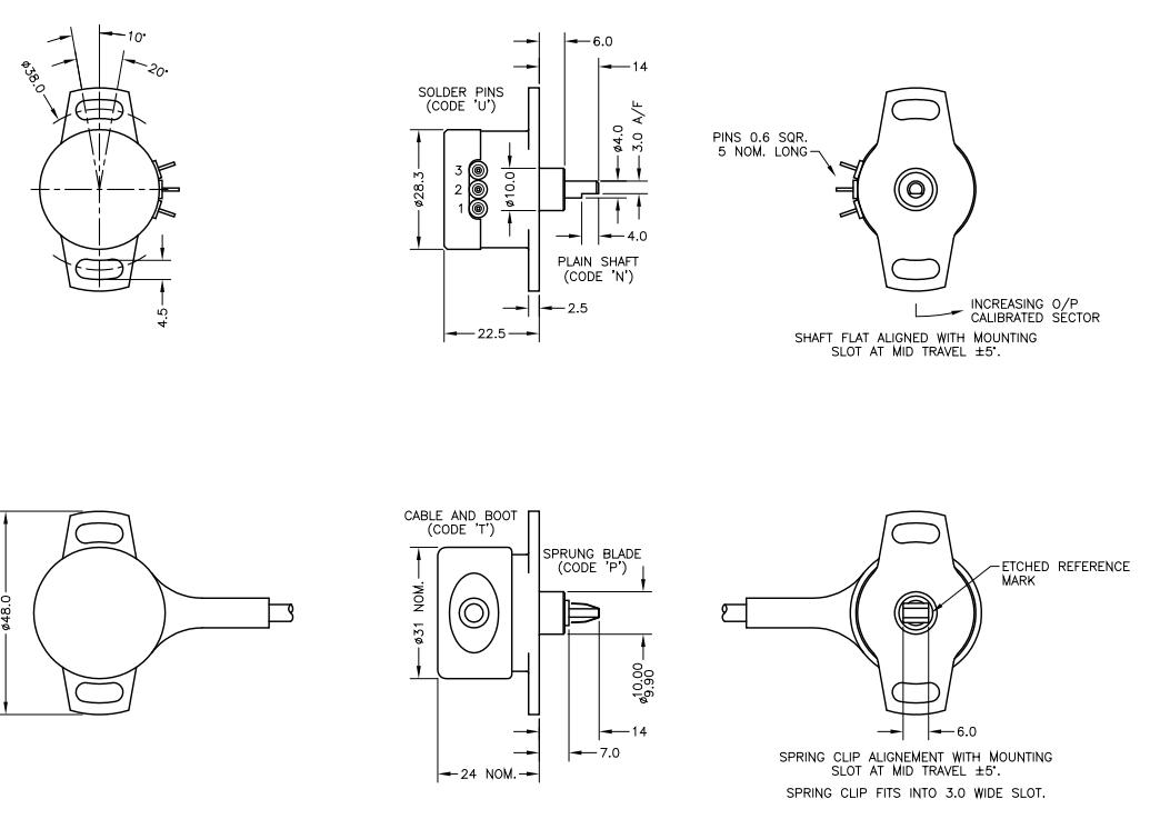 Capteur angulaire inductif linéaire