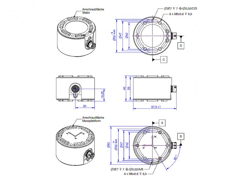 Dimensions K6D40 capteurs de force 6 axes