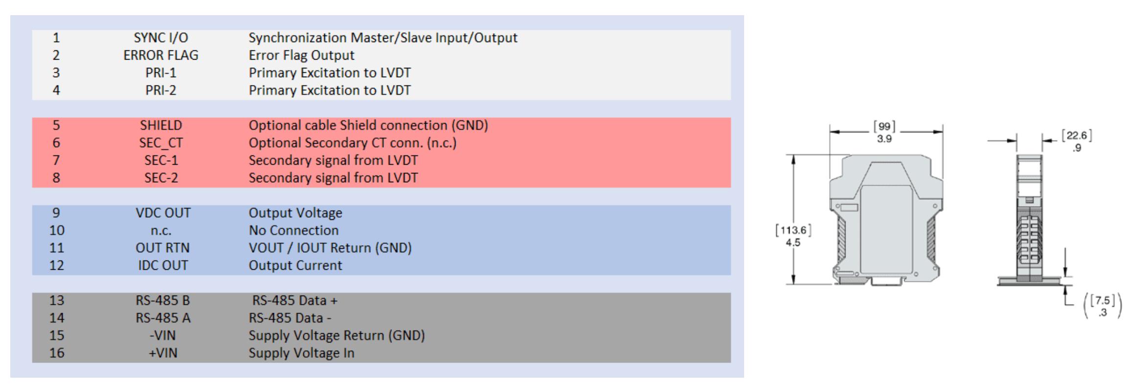 conditionneur Capteur de déplacement LVDT