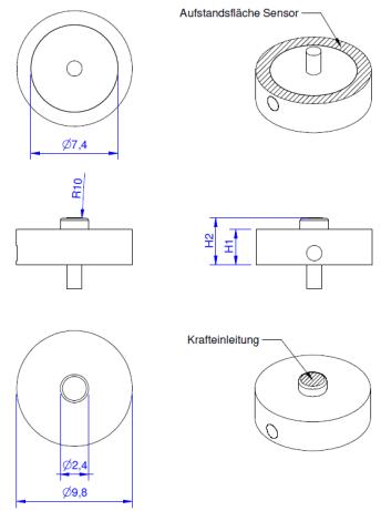 KM10 - 25 N à 1 kN - IP64 - Ø10 - Capteur de force bouton de 25 N à 1 kN