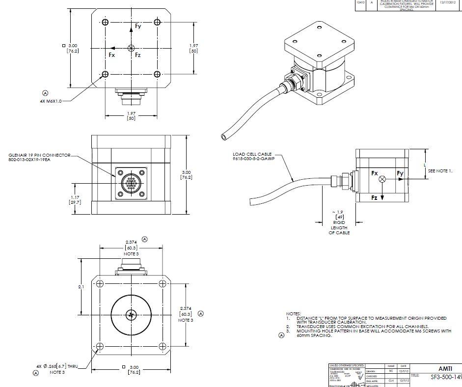 SF3/MC3 - Capteur de force  6 composantes Etanche