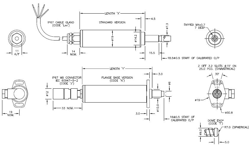 LIPS P118 - palpeur - ⌀ 19 - Capteur de déplacement inductif 0 à 50 mm