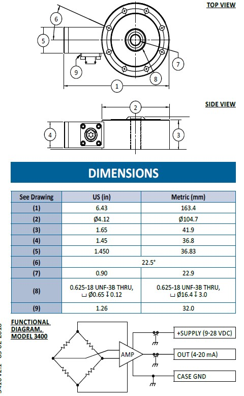 3400 Series - ATEX - Capteur de force ATEX acier