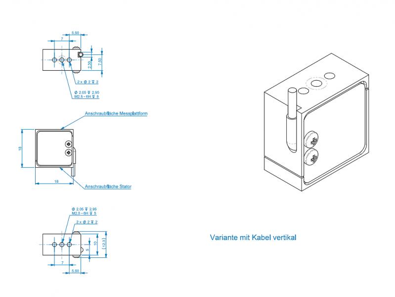 KD18s- ±0.1N à ±10N- miniature - Low capacity S-Beam force sensor - ±0.1N to ±10N