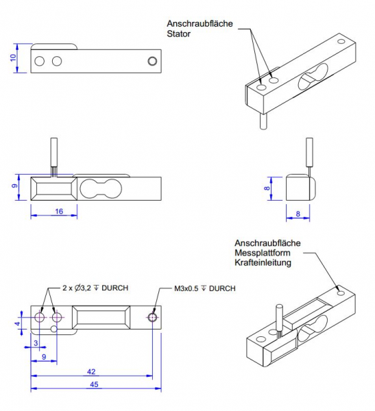 Double bending beam force sensor