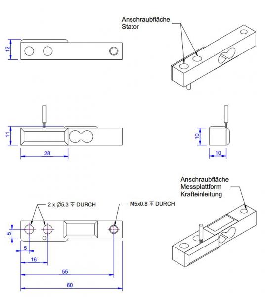 KD60 - ±5Nà ±1kN - Double bending beam force sensor - 5 to 1000 N