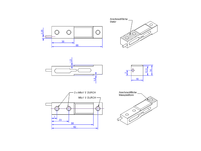 KD68 - ±5Nà ±1kN - Double bending beam force sensor - 5 to 1000 N - flat design
