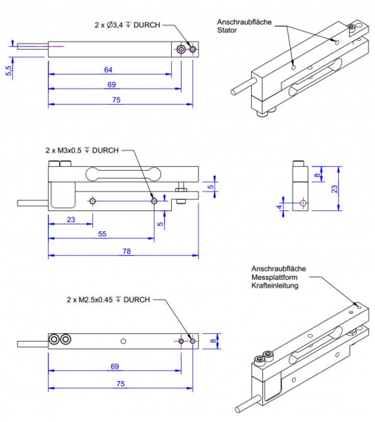 KD78 - ±500mN - Double bending beam force sensor - ±500mN - high resolution