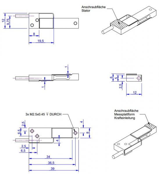 KD39 - ±5N à ±20N - Double bending beam force sensor- 5 to 20 N