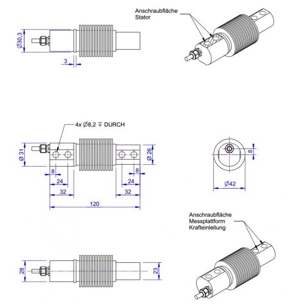 KD120 - ±100N to ±2kN - Double bending beam force sensor - 100 to 2000 N - 150°C