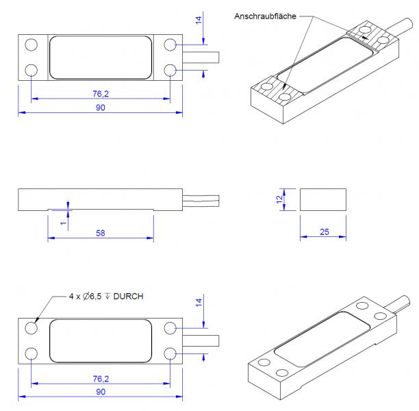 DA90 - Screw-on strain sensor - 100 µm/m - IP65 - optional amplifier
